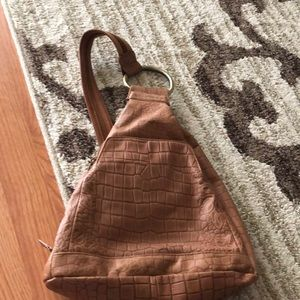 Tan Embossed Leather Backpack like NEW